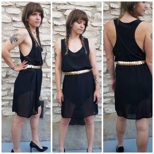 LNA Racerback Mesh Inset Silky Shift Dress L